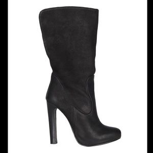 All Saints Hero Black Mid Calf Heeled Leather Boot